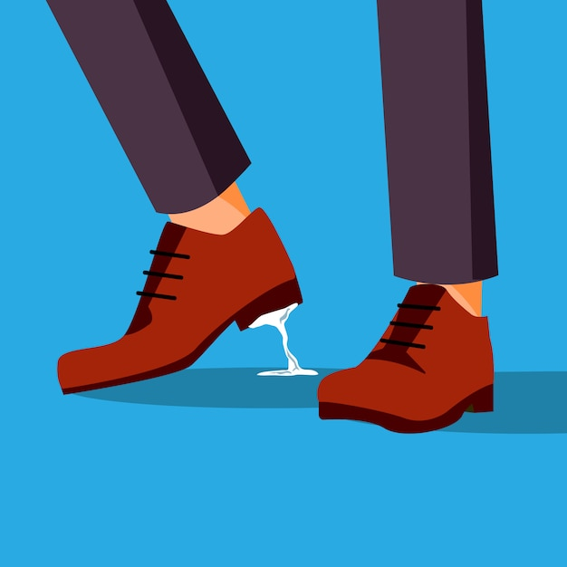 Voeten voor bedrijfsproblemen. zakenman schoen met kauwgom Premium Vector