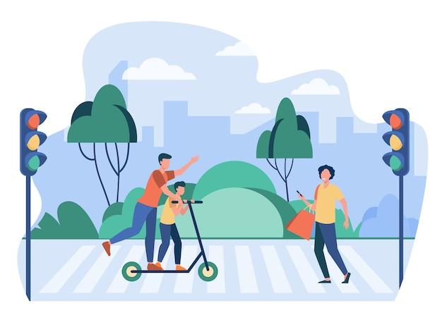 Voetgangers die verkeersregels overtreden. mensen met behulp van cel, scooter rijden op zebrapad platte vectorillustratie. verkeersveiligheid, waarschuwing Gratis Vector