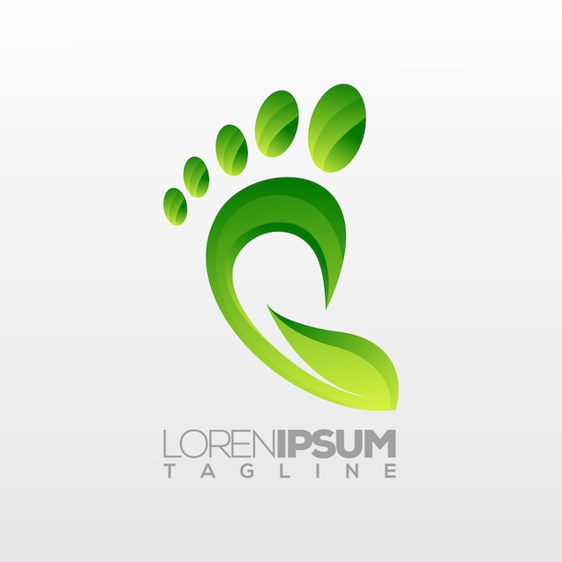 Voetlogo, natuur ecothema Premium Vector