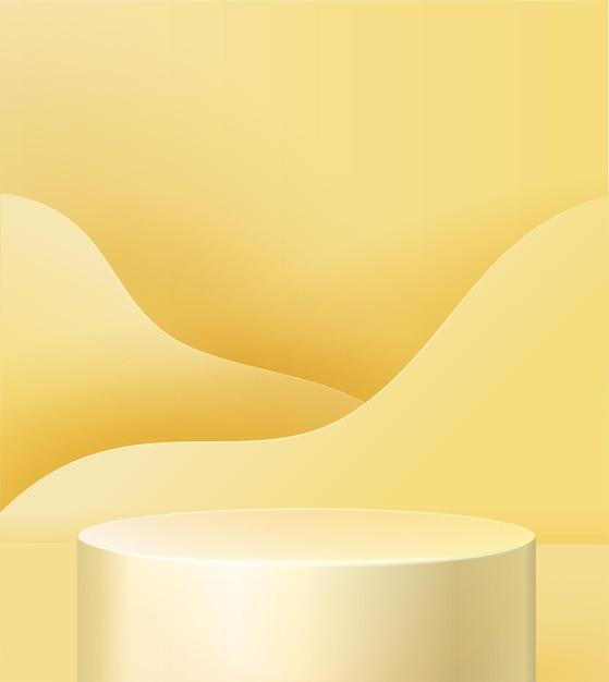 Voetstuk op een geel Premium Vector
