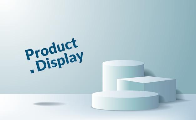 Voetstuk podium van 3d-kubus en cilinder voor reclame voor productplaatsing Premium Vector