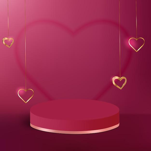 Voetstukpodium met gouden hart voor product Premium Vector