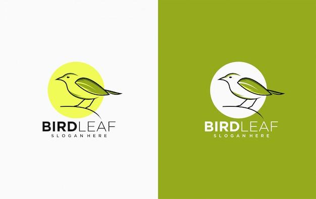 Vogel blad logo pictogrammalplaatje Premium Vector