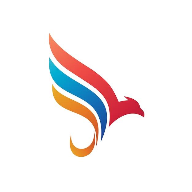 Vogel en vleugel abstracte illustratie logo sjabloon Premium Vector