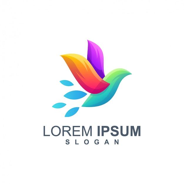 Vogel kleur logo ontwerp vector Premium Vector