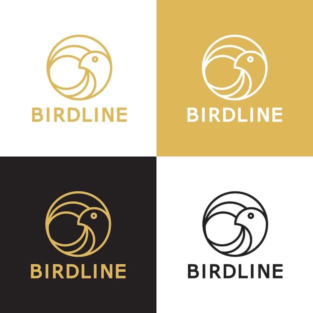 Vogel lijn vector logo sjabloon Premium Vector
