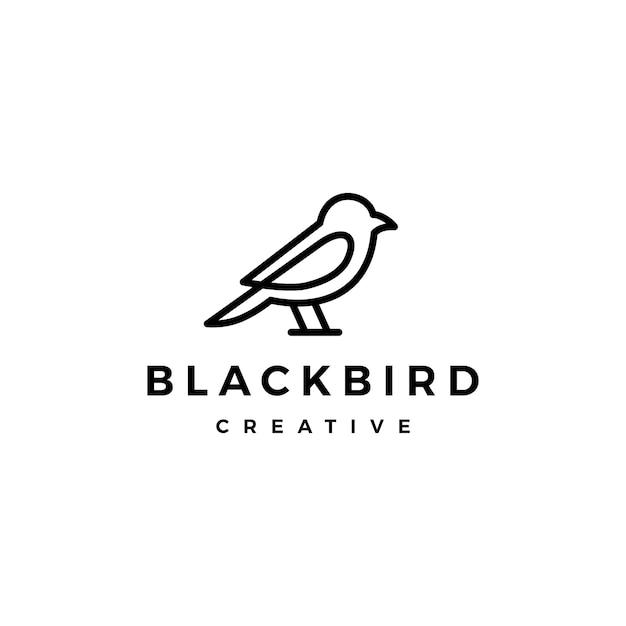 Vogel logo vector lijn overzicht monoline kunst pictogram Premium Vector