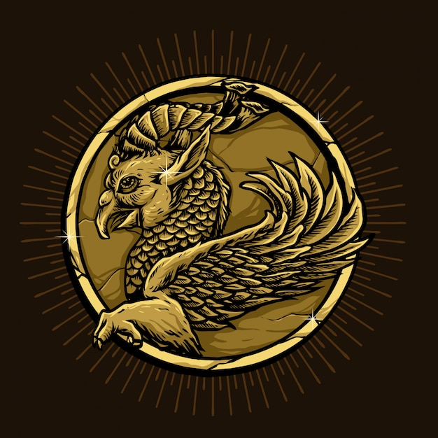 Vogel met hoorn en visschubben dierlijke mythologie van iran Premium Vector