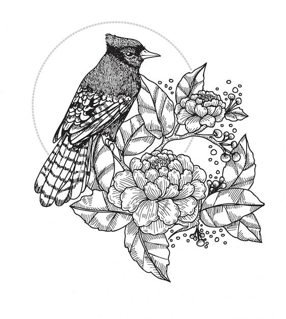 Vogel tatoeage Premium Vector