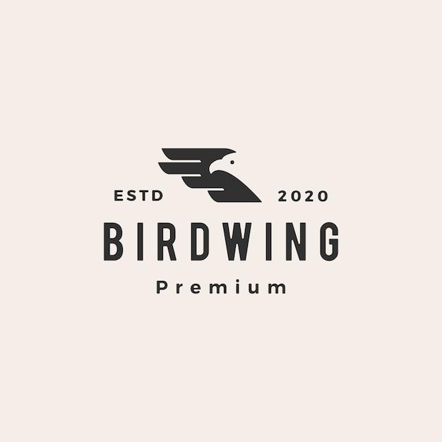 Vogel vleugel hipster vintage logo pictogram illustratie Premium Vector