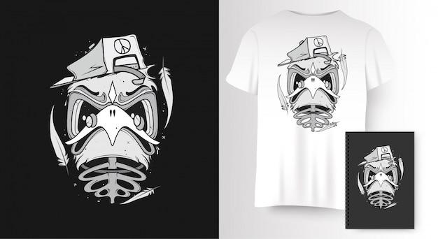 Vogel voor t-shirt print Premium Vector
