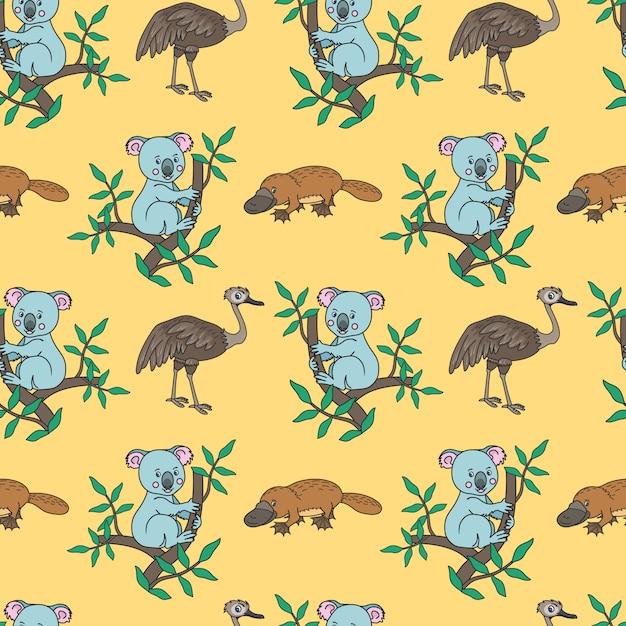 Vogelbekdier, koala-patroon Premium Vector