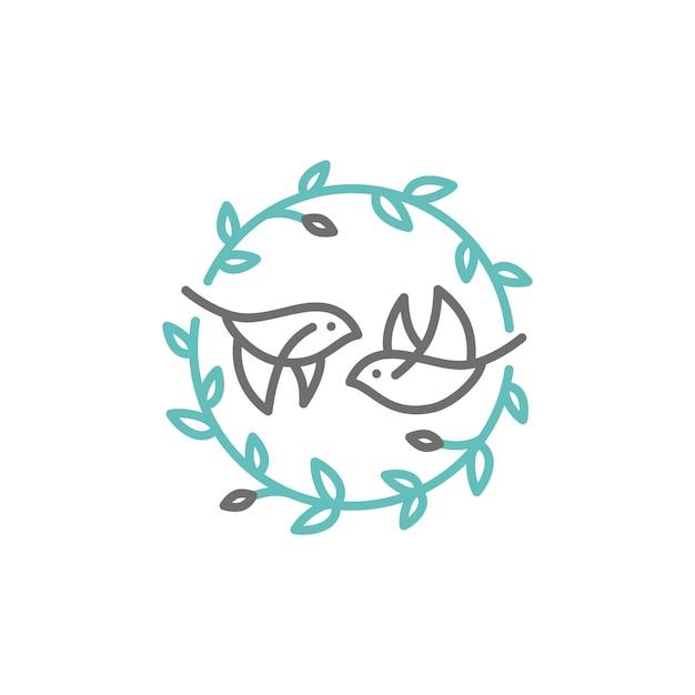 Vogelblad kuif logo Premium Vector