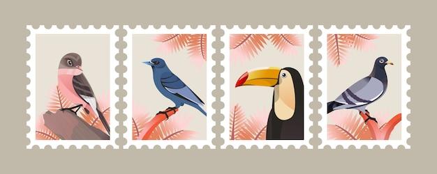 Vogelillustratie voor affiche en postzegel Premium Vector