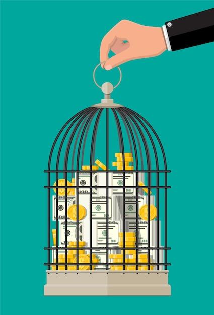 Vogelkooi vol gouden munten en bankbiljetten. dollar munt in spaarpot opslaan. groei, inkomen, sparen, investeren. symbool van rijkdom. zakelijk succes. vlakke stijl vector illustratie. Premium Vector