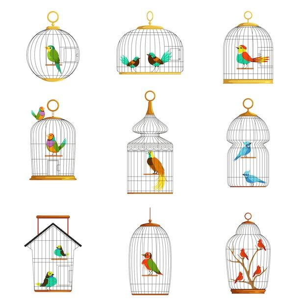 Vogelkooien met verschillende vogels set van illustraties Premium Vector