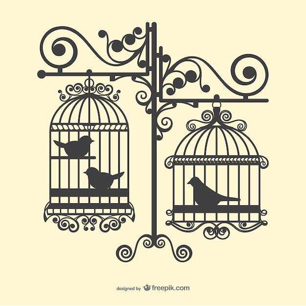 Vogelkooien silhouetten Gratis Vector