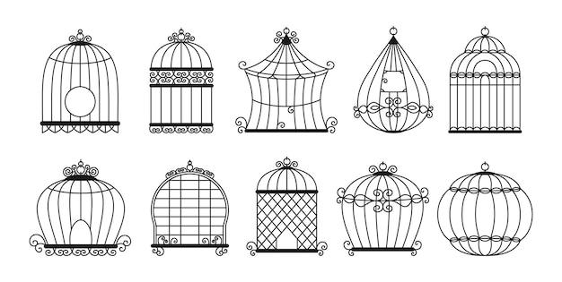Vogelkooien zwart silhouet set. vintage kooi zonder vogels collectie. Premium Vector
