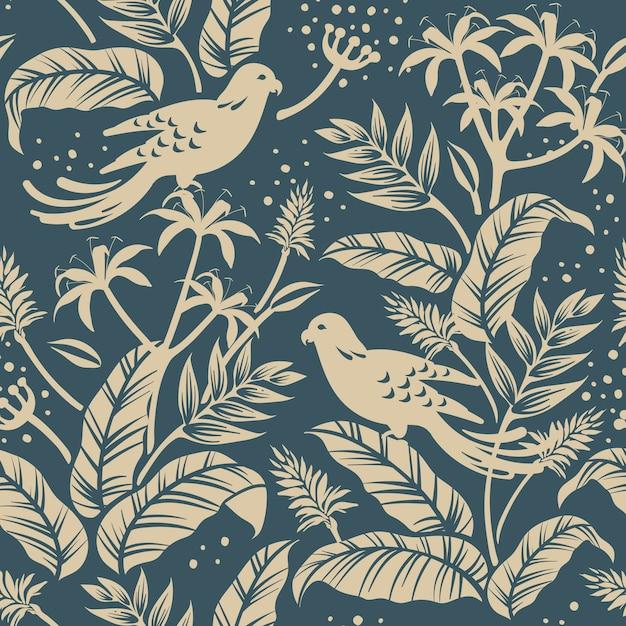 Vogels in het ontwerp van de natuur Gratis Vector