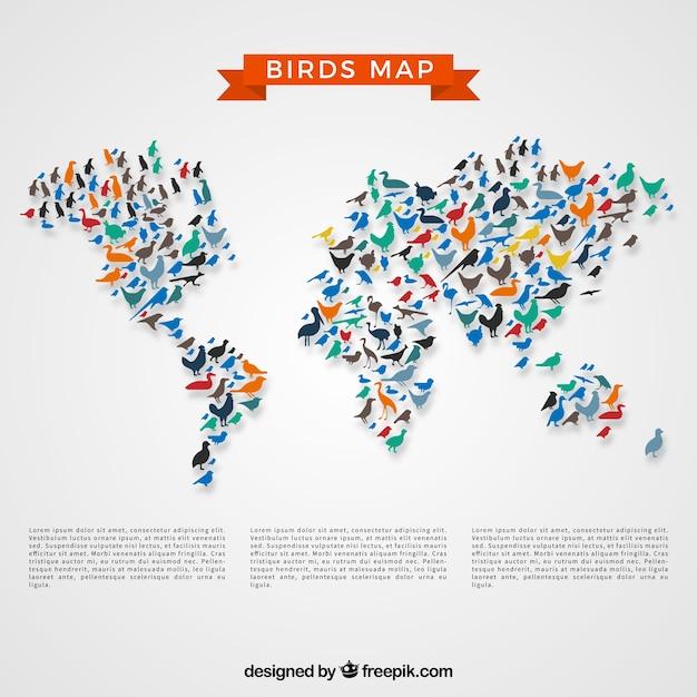 Vogels kaart Gratis Vector