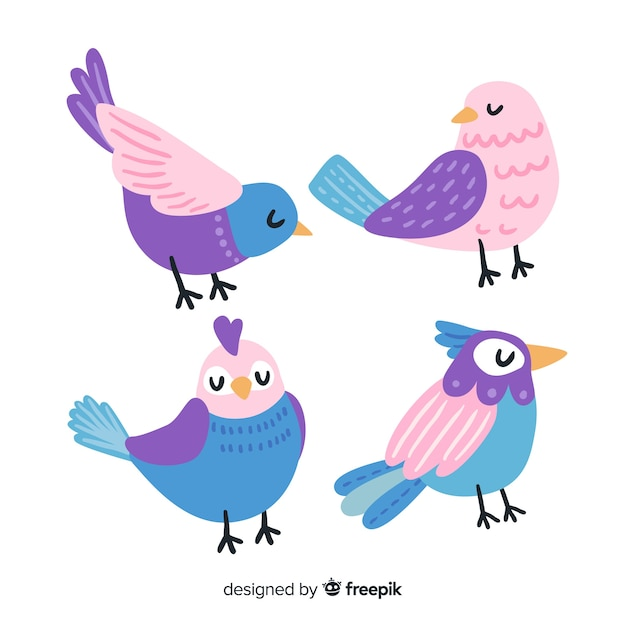 Vogelverzameling hand getrokken stijl Gratis Vector