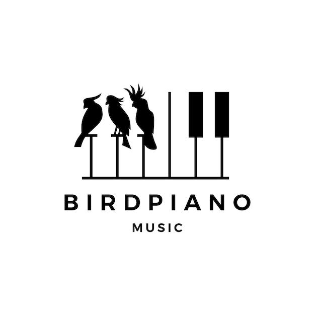 Vogelwedstrijd pianomuziek cursus evenement logo Premium Vector