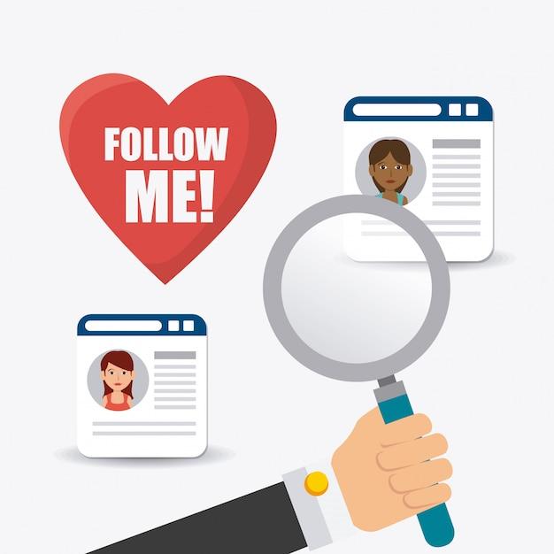 Volg mij sociaal en zakelijk themaontwerp Gratis Vector