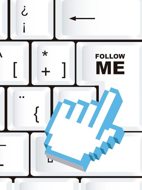 Volg mij teken over toetsenbord met cursor hand vector Premium Vector