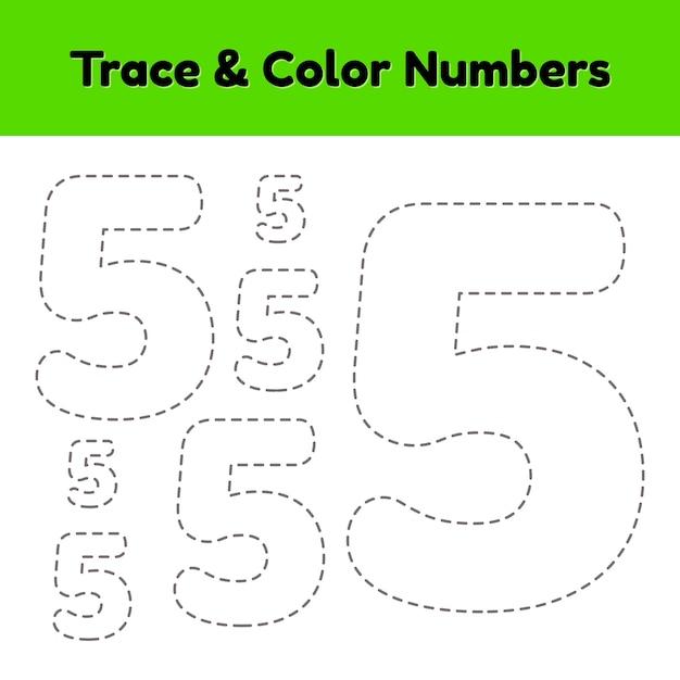 Volglijnnummer voor kleuters en kleuters. schrijf en kleur een vijf. Premium Vector