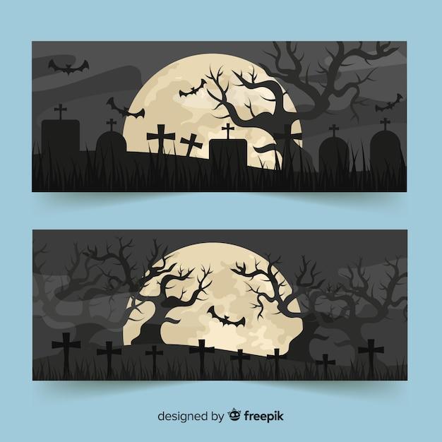 Volle maan en begraafplaatsbanners voor halloween Gratis Vector