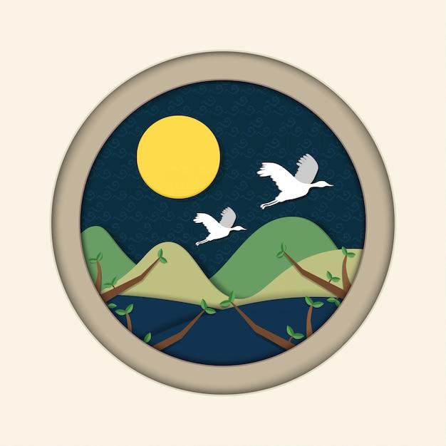 Volle maan en paar kraan. mid autumn festival (chuseok) papierkunststijl voor achtergrond. vertaald: chuseok, happy korean thanksgiving day. Premium Vector