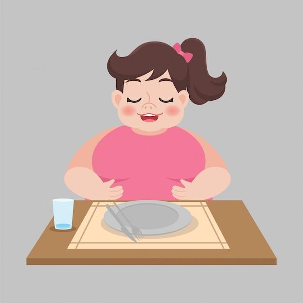 Volle vrouw met lege vuile plaat na gegeten Premium Vector