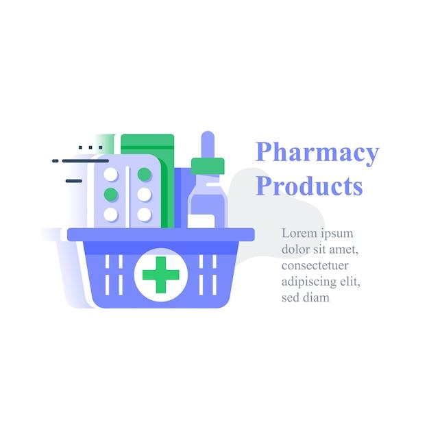 Volledige apotheekmand, bestel medisch product, koop levering Premium Vector