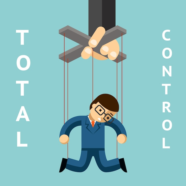 Volledige controle. zakenman marionet. string en autoriteit, marionet en leiderschap, manager mensen, pop en werker Gratis Vector