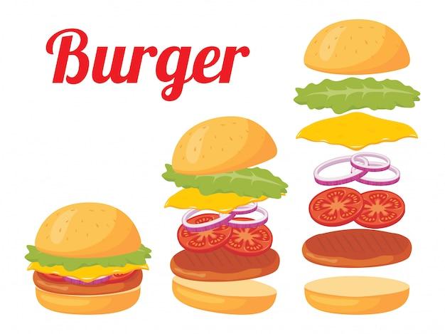 Volledige hamburger illustratie Premium Vector