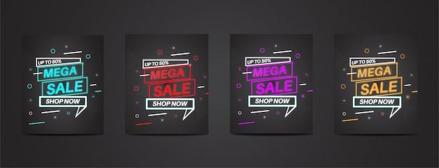 Volledige pack mega sale met kleurrijke neon posterset Premium Vector