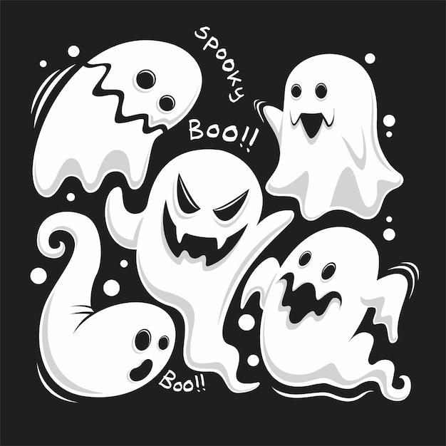Volledige set unieke geesten van halloween-viering Premium Vector