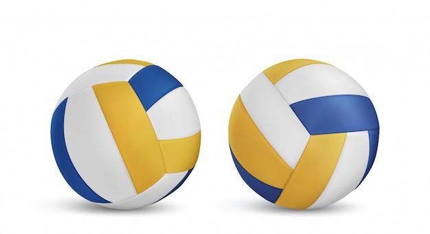 Volleybal ballen set geïsoleerd Gratis Vector