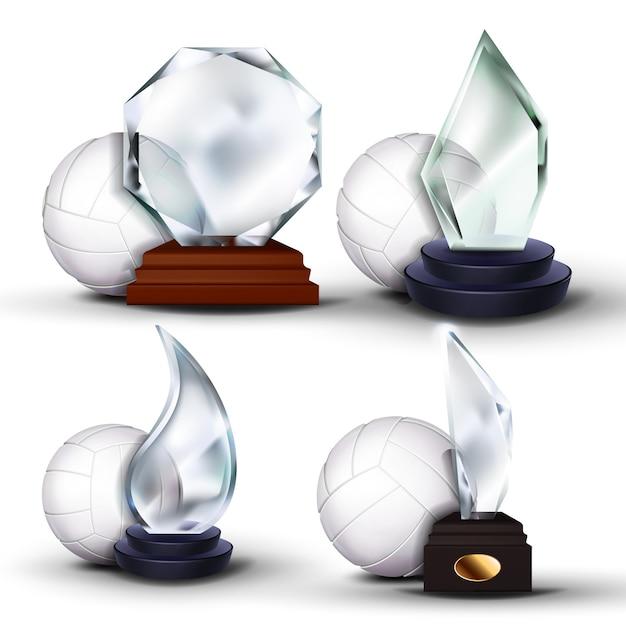 Volleybal game award set Premium Vector