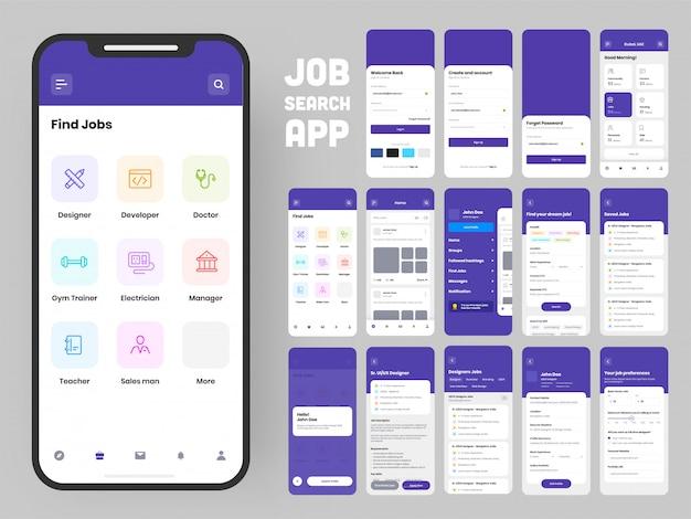 Voltooi ui- en ux-schermen voor een mobiele app. Premium Vector