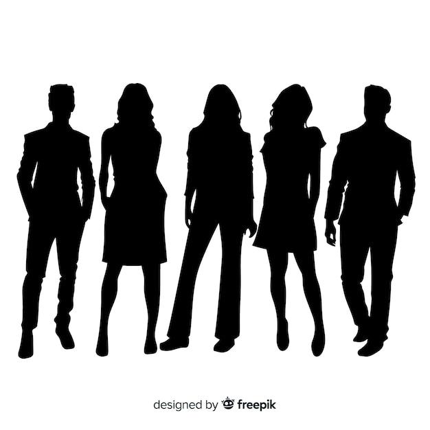 Volwassen mensen silhouetten achtergrond Gratis Vector
