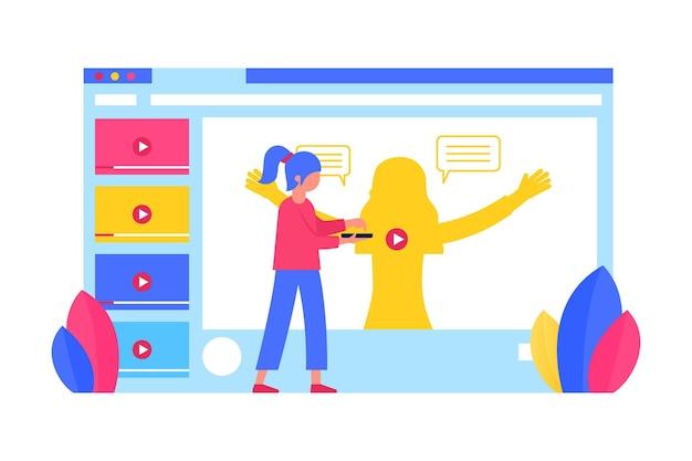 Volwassenen die online tutorials leren en volgen Gratis Vector