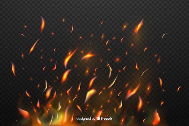 Vonken van vuur effect met transparante achtergrond Gratis Vector