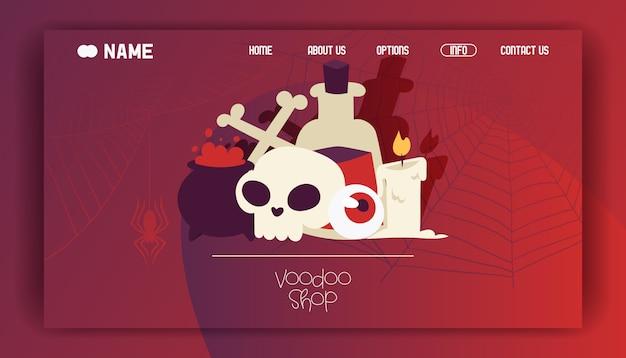 Voodoo-winkel bestemmingspagina of website-ontwerp. giftige stoffen en vloeistoffen in ketel en grote fles. brandende kaars, schedel met gekruiste botten en oogbol. Premium Vector