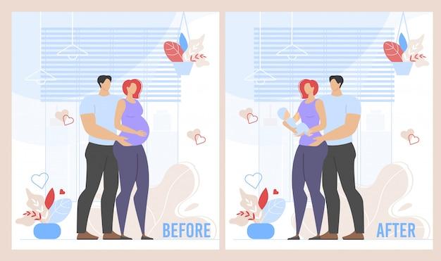 Voor de bevalling en na de zwangerschap cartoon set Premium Vector
