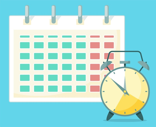 Voor de kalender staat een klok. Premium Vector