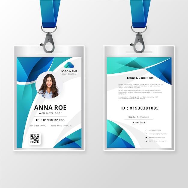 Voor- en achterkant id-kaartsjabloon met afbeelding Gratis Vector