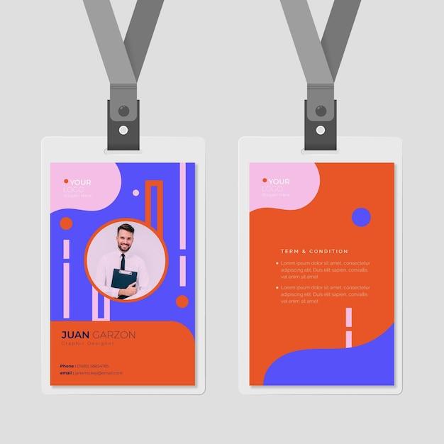 Voor- en achterkant identiteitskaart met fotosjabloon Gratis Vector