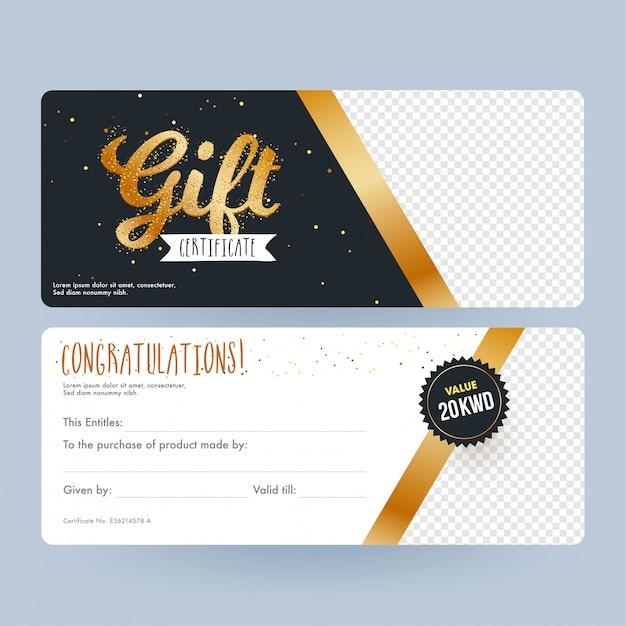 Voor- en achterkant van de cadeaubon met ruimte voor uw product Premium Vector