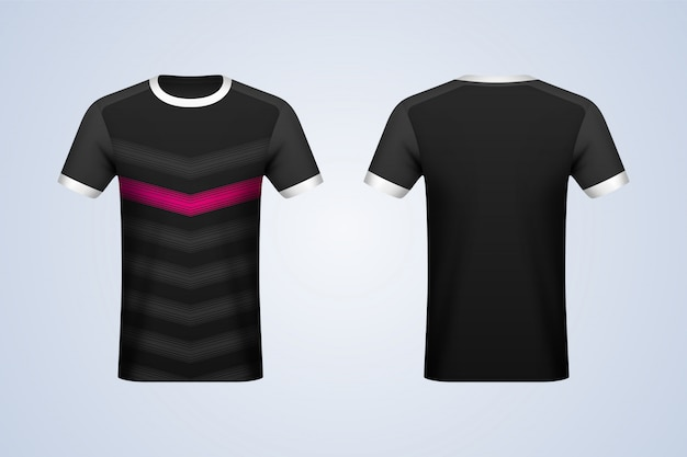 Voor- en achterkant zwart met strepen jersey mockup Premium Vector